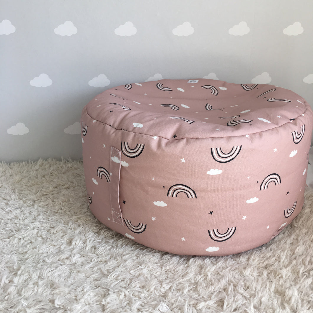 Pink Rainbow footstool/beanbag with carry handle, Ingrid Petrie for Little Jagger