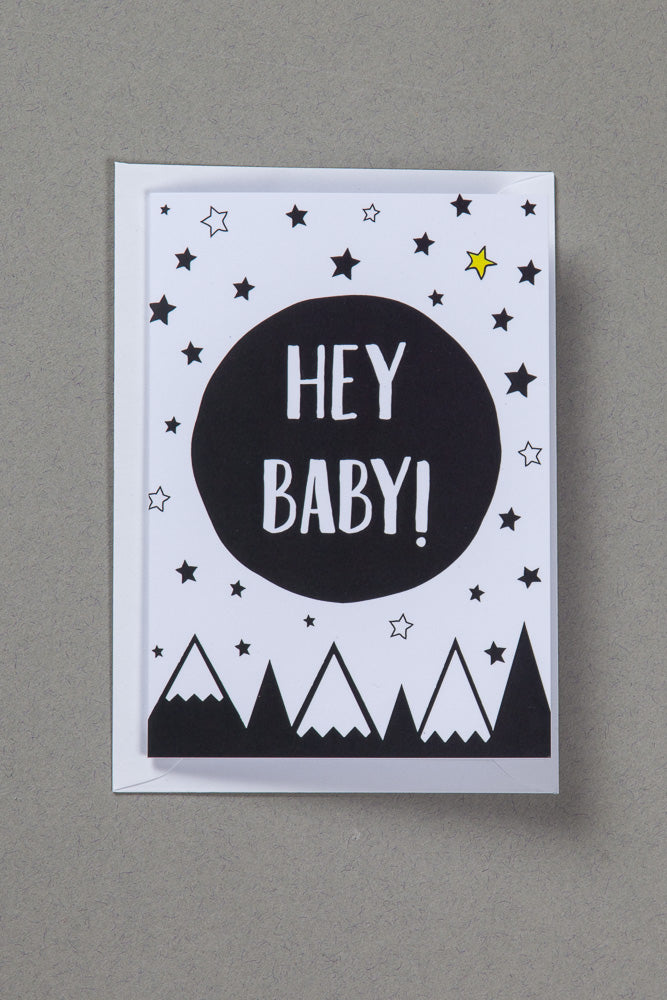 Hey Baby A6 Greeting Card, New Baby Card