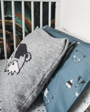 Load image into Gallery viewer, Petrol blue Woodland Bedding with bear and badger