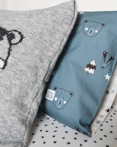 Petrol blue Woodland Bedding with bear and badger