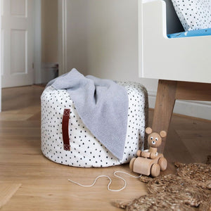 Black and white star footstool/beanbag with carry handle, Ingrid Petrie for Little Jagger