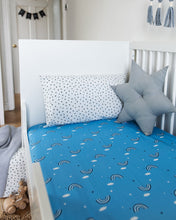 Load image into Gallery viewer, Blue Rainbow Fitted Sheet,  Ingrid Petrie for Little Jagger