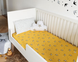 Yellow Swallow Fitted Sheet