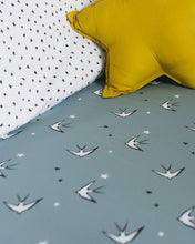 Load image into Gallery viewer, Grey Swallows Fitted Sheet, Ingrid Petrie for Little Jagger