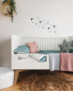 PRE ORDER Grey Swallows Bed Linen, Ingrid Petrie for Little Jagger