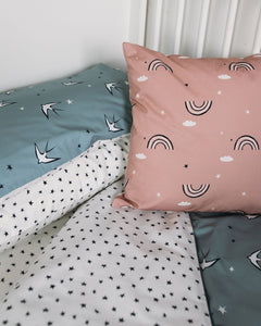 Grey Swallows Bed Linen, Ingrid Petrie for Little Jagger