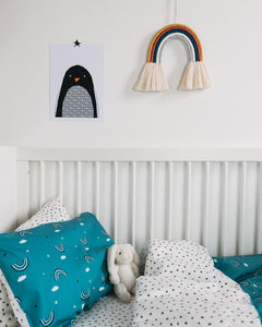 Teal Rainbow Bed Linen, Ingrid Petrie for Little Jagger