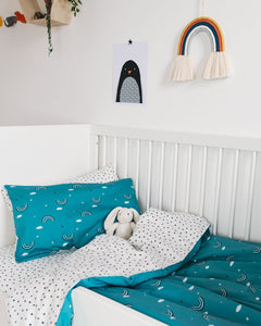 Teal Rainbow Cot Bed Set
