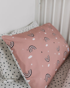 Dusty Pink Rainbow Bed Linen, Ingrid Petrie for Little Jagger