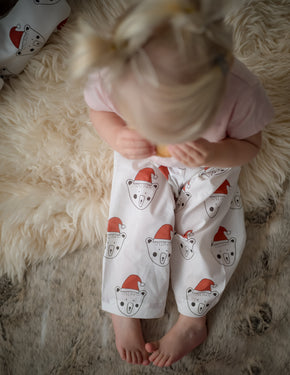 White Santa Billy Bear Traditional Children's Pyjama Bottoms