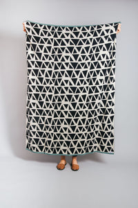 Lennox Throw Monochrome with mint hem