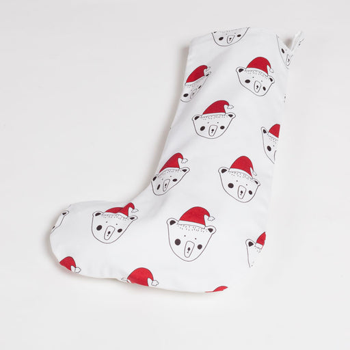 White Billy Bear Christmas Stocking, Santa Bear