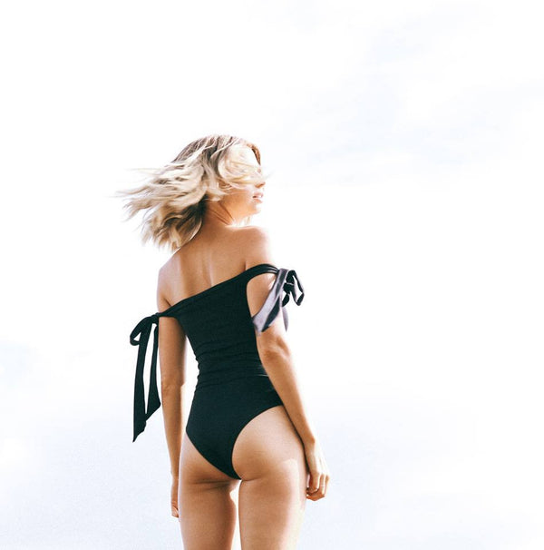 Off the Shoulder Black Swimsuit with Ties