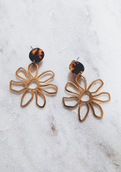 Daisy Dangle Earrings - Tortoise & Gold