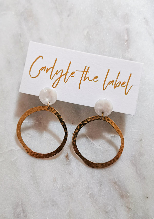 Ingrid Hoop Stud Earrings - Ivory & Gold