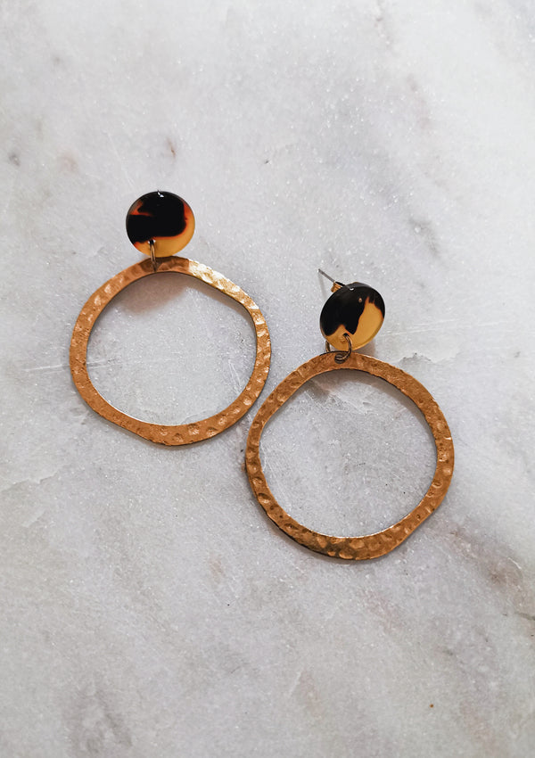 Ingrid Hoop Stud Earrings - Tortoise & Gold