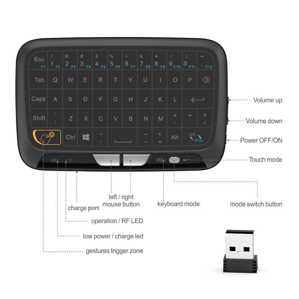 Mini Wireless Keyboard Touchpad 2.4Ghz H18 Large Screen Mouse