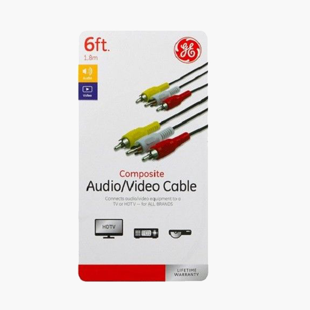 3 RCA Audio Video AV Cable 6FT Composite Extension jasco