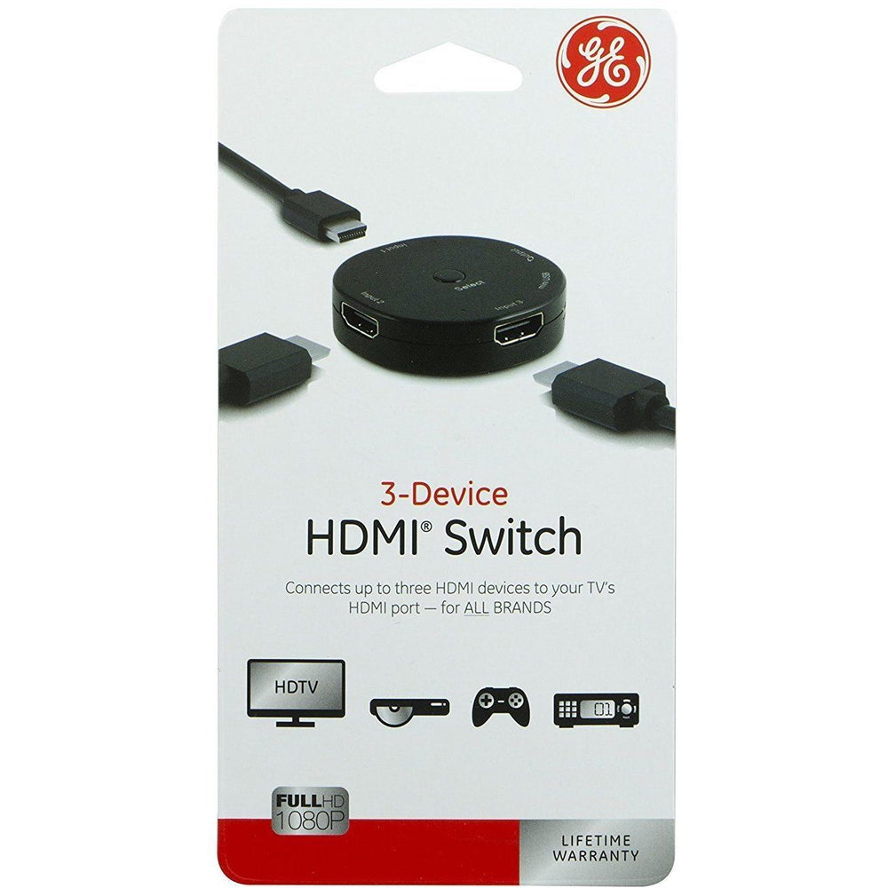 3-Device HDMI Switch Jasco 3-Port Adapter 3 Input 1 Output