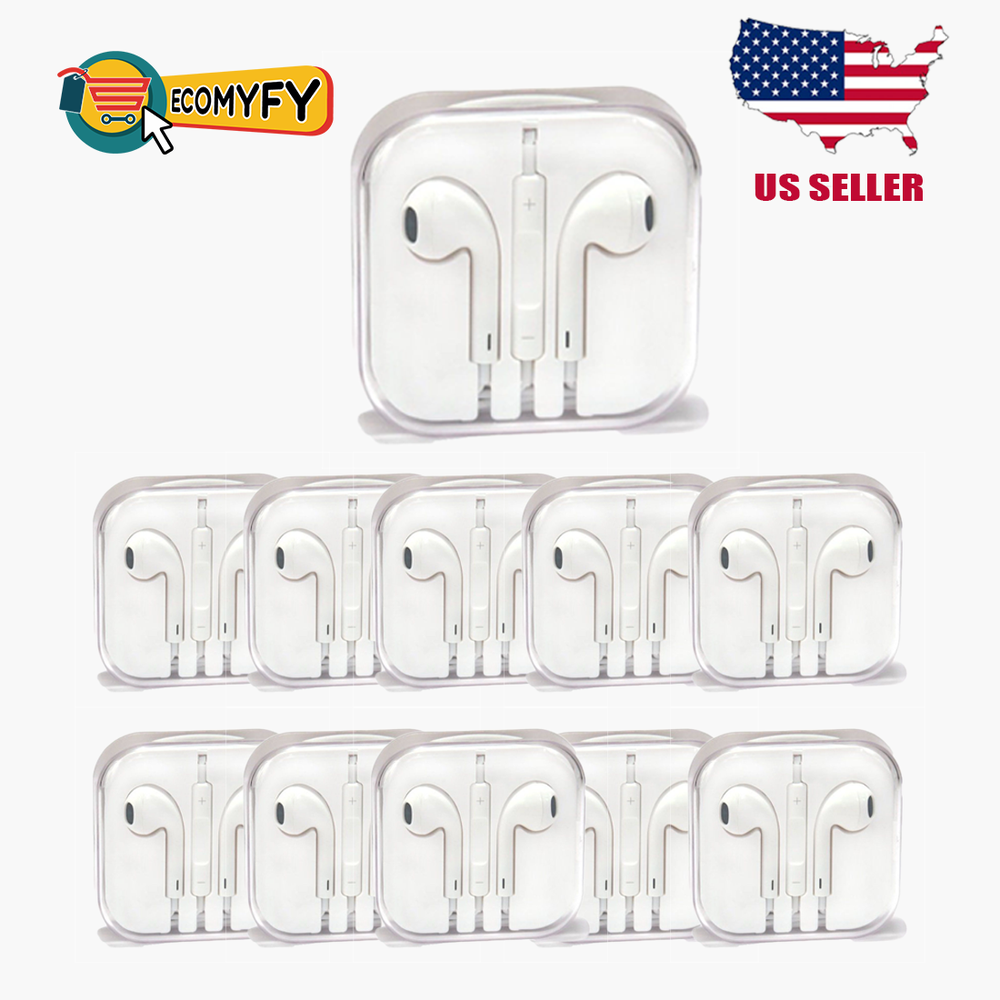 Lot of 10 Apple Original EarPods Earphones Headphones with Remote and Mic MD827LLA - White
