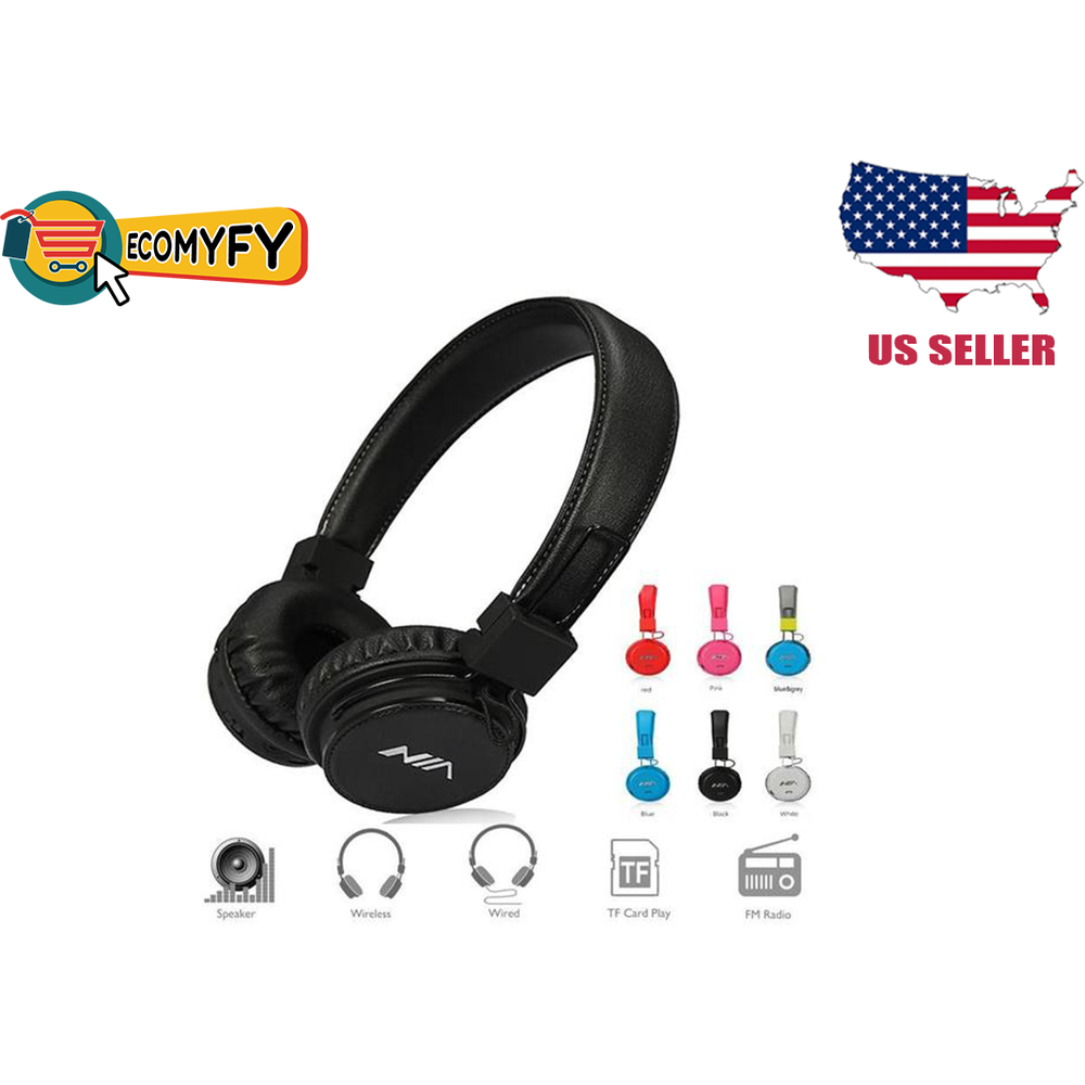 Wireless Headphones Free APP to Control Headsets Calls TF Card AUX Playing FM Radio