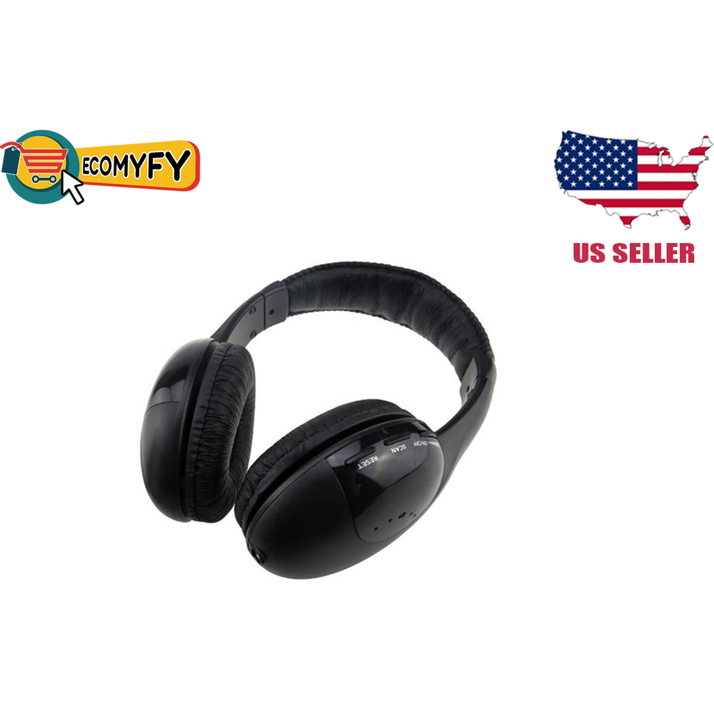 Wireless Headphones with Microphone Fm Radio for Mp3 Pc Tv Audio Phones (Black)