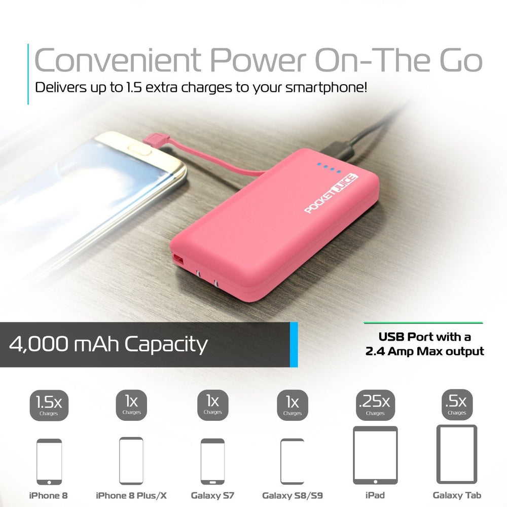 Tzumi Pocket Juice Extreme 4000 mAh Power Bank 4172P Hot Pink