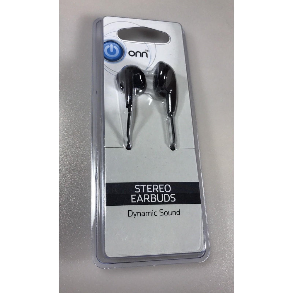 2 Onn Stereo Earbuds Dynamic Sound Black