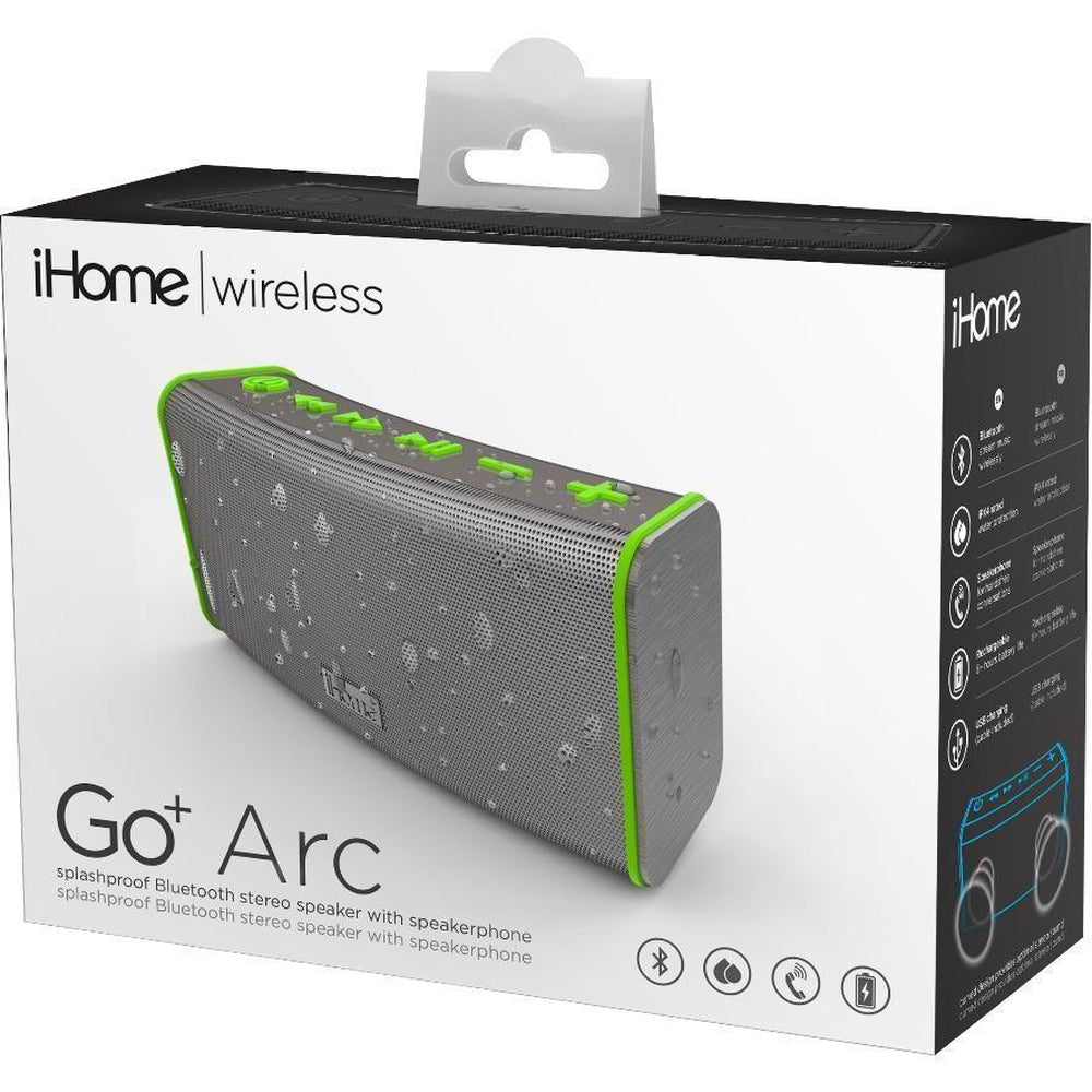 iHome Rechargeable Splash Proof Stereo Bluetooth Speaker - Gray/Green