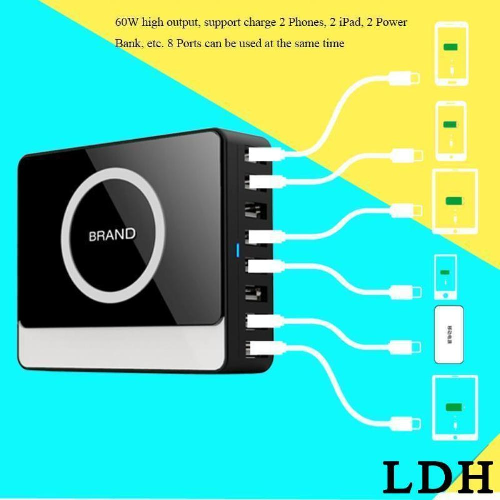LDH Desktop Charger 8 Ports USB Mobile Phone Accessories Qi Wireless Travel Charger For CellPhone Multi Phones Charging Station