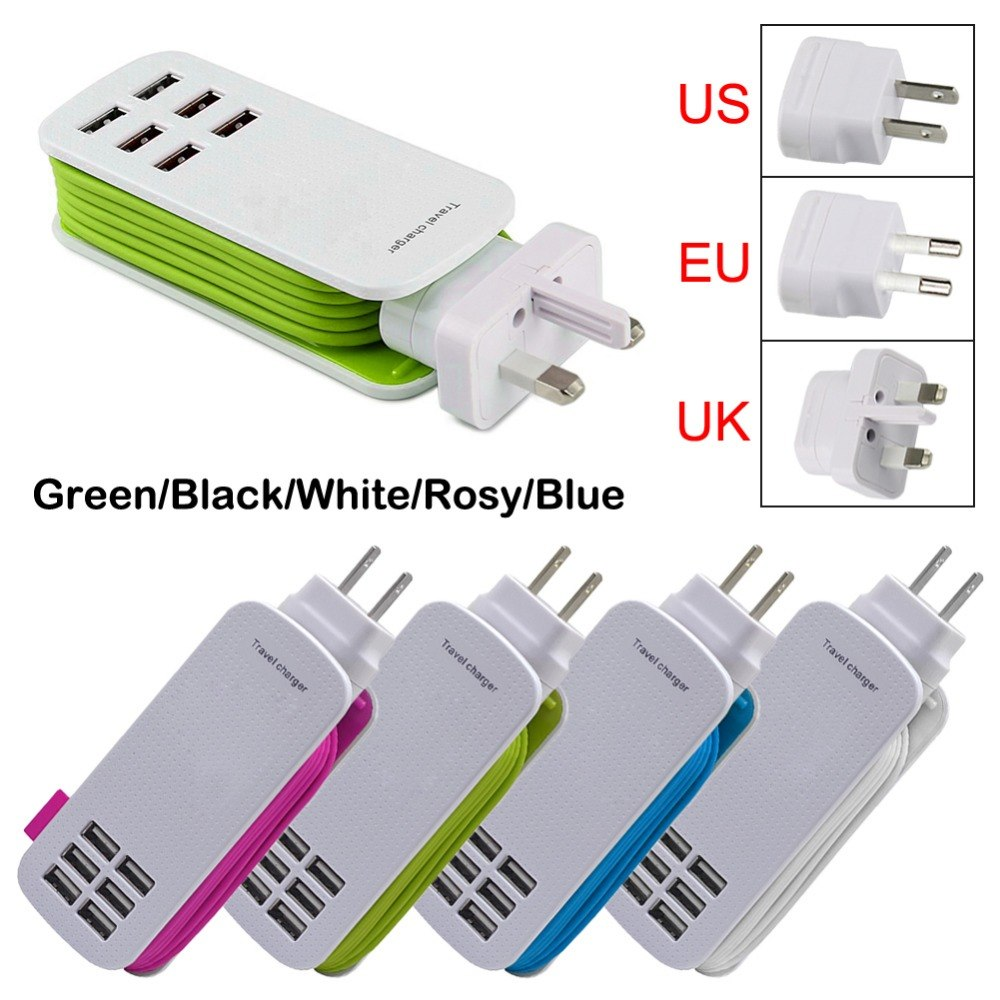 Universal 6 Way Multi USB Mobile Phone Hub Charger 5V 6A EU/US/UK/AU AC Wall Charging Docking Station Power Strip for Smartphone