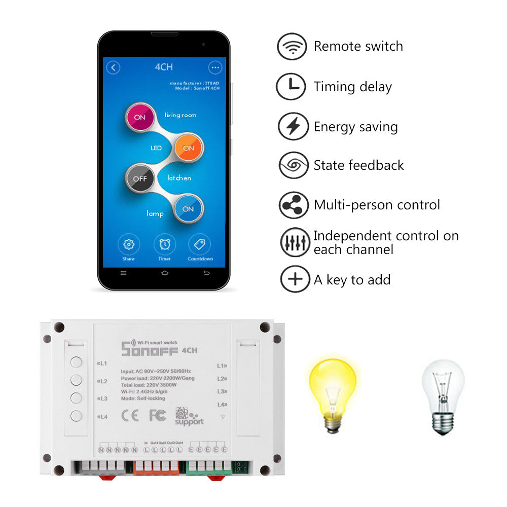 4CH 4 Gang Way Sonoff Smart Remote Control Wireless Switch Module Modified Smart Home Solution with Timing for iOS Android 3500W AC 90-250V