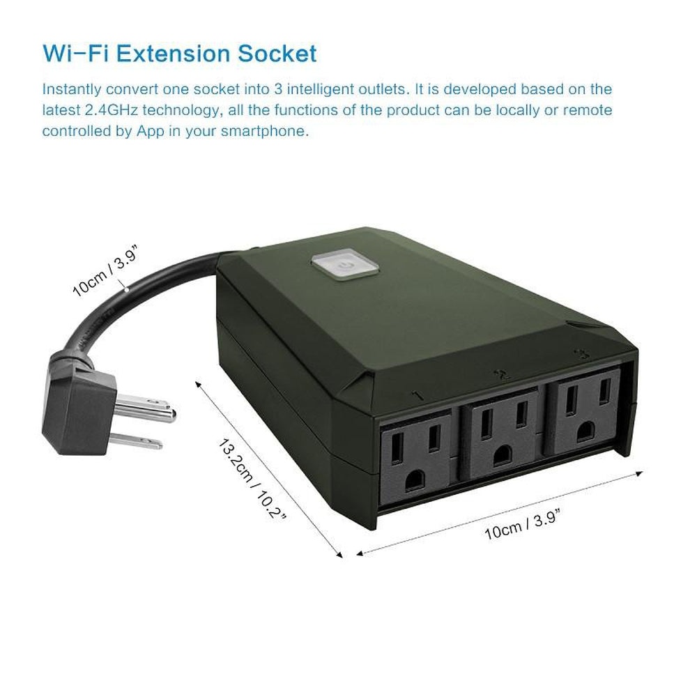 FORNORM WiFi Smart US Plug 1 to 3 Extension Socket Outdoor Waterproof Timer Smart Home