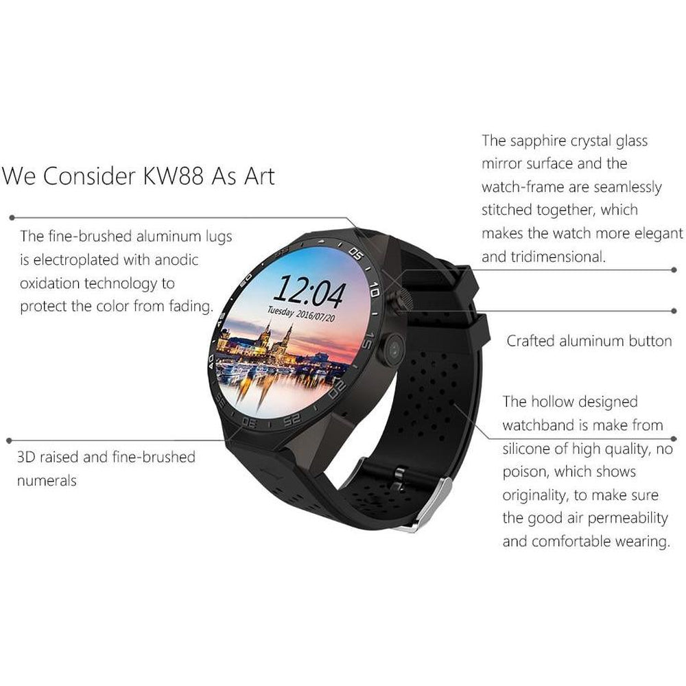 LEMFO KW88 SmartWatch Android 5.1 4GB 512MB  2.0MP camera Men Women