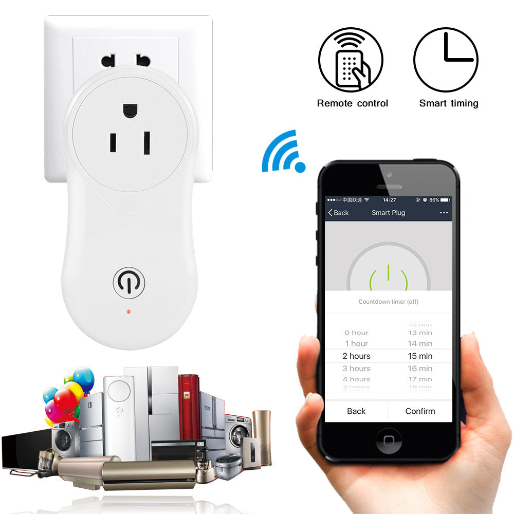 US Plug Wireless WiFi Smart Socket Intelligent Work with Alexa & Google Home Support