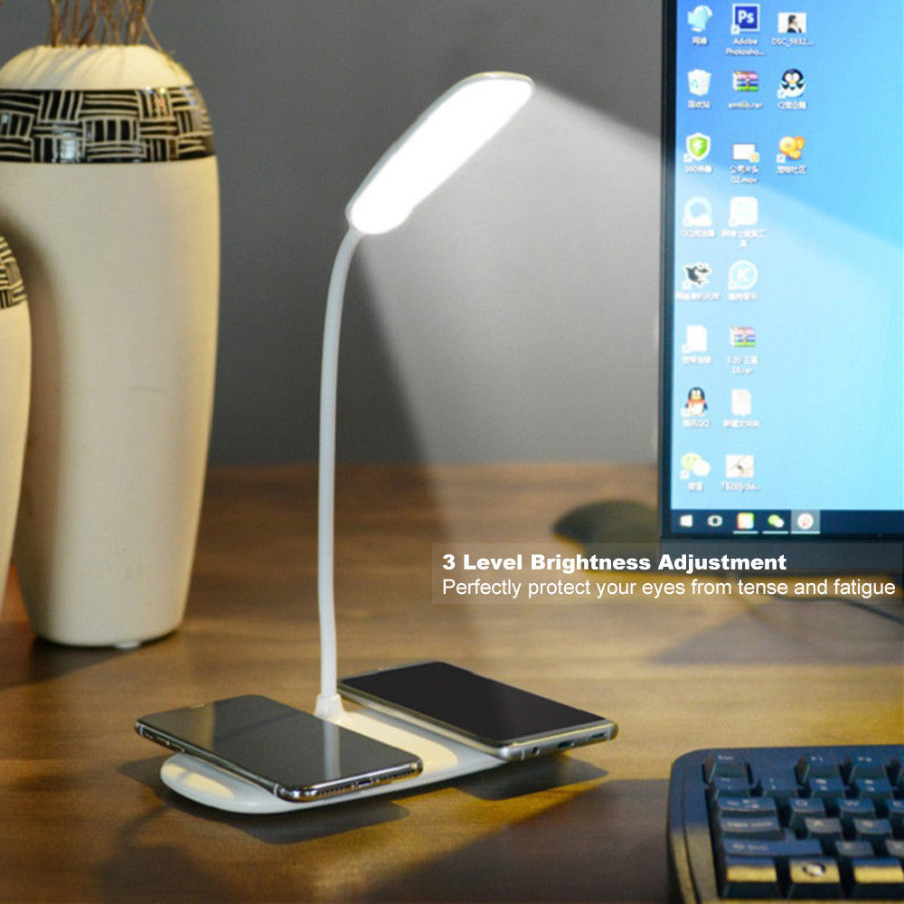 Folding LED Desk Lamp Dual Qi Wireless Charging Pad  Night Light