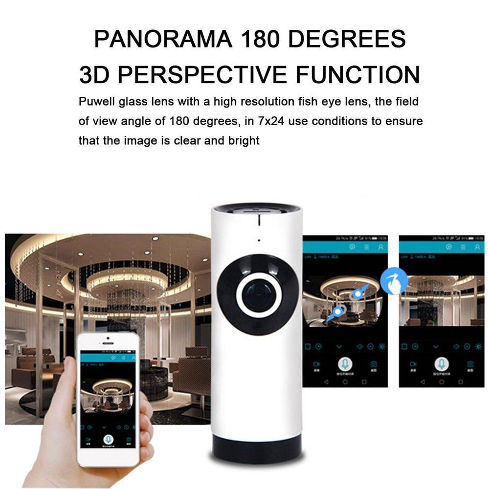 720P Wireless Wifi Camera Panoramic 360º Fish-eye Smart Home Monitor Webcam