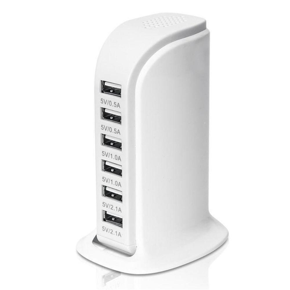General ABS 6USB Multi-Port Travel Wall Desktop Quick Charging Charger Station