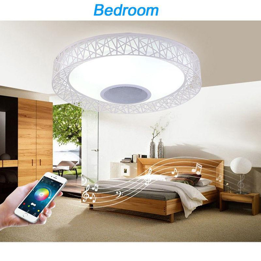 Smart Bluetooth Speaker Color Changing Lamp LED Flush Mount Home Ceiling Light
