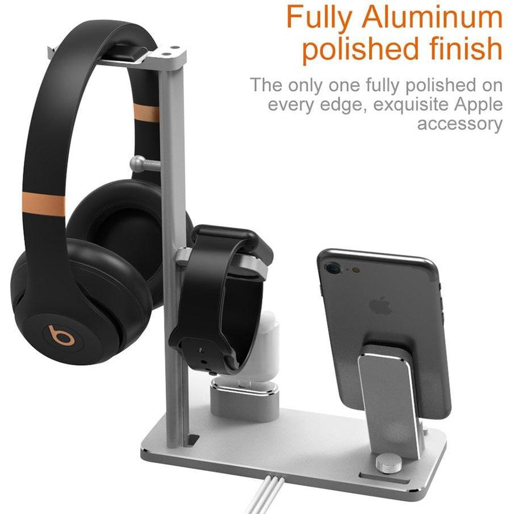 4 in 1 Charging Stand for Apple Watch for AirPods Wireless Earphones Charger Station for iPhone X/8 plus Headphone Hanger