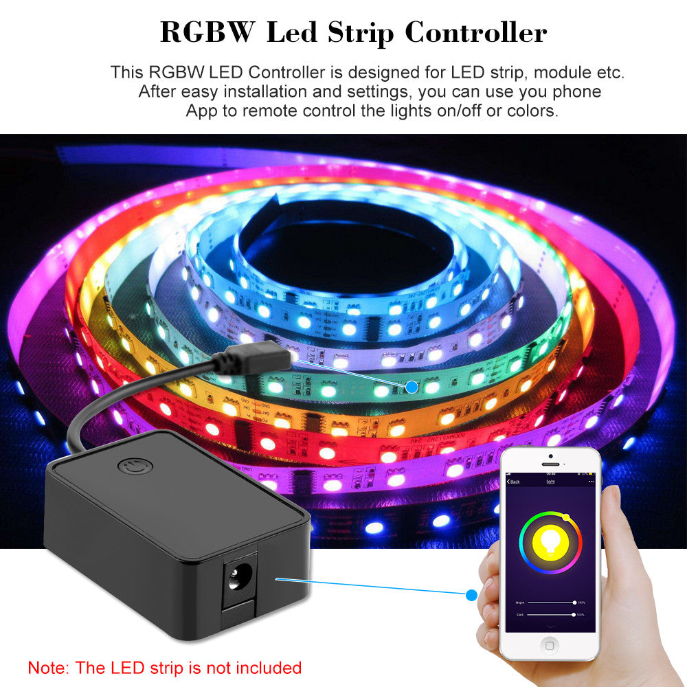 Mini Wifi RGBW LED Strip Controller by Smart Phone Control Works with Amazon Alexa & for Google Home