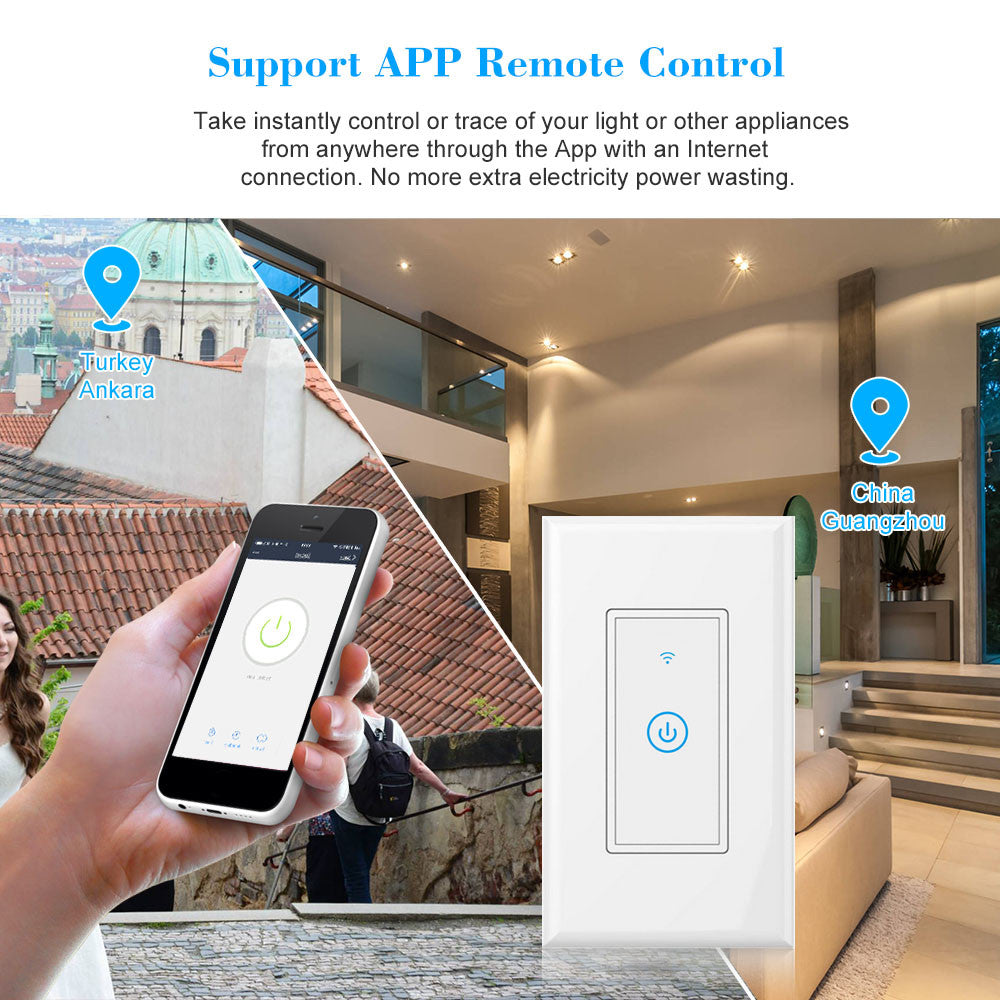 WIFI Light Switch Smart  Lights and Appliances Compatible with for Amazon Alexa and for Google Home