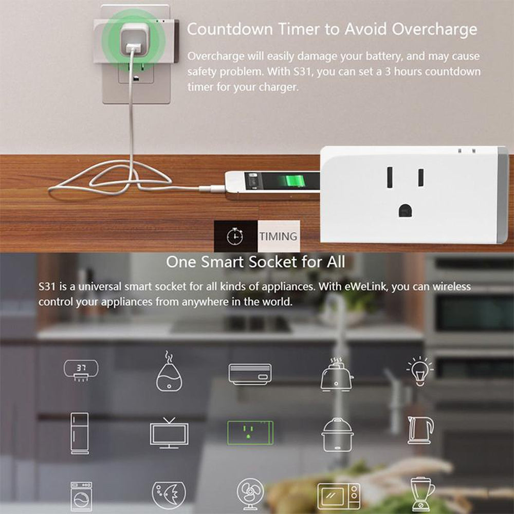 Wireless Switch Outlet WIFI Smart Plug Clever Home Automation Mobile Phone WiFi Smart Power Socket S31 16A