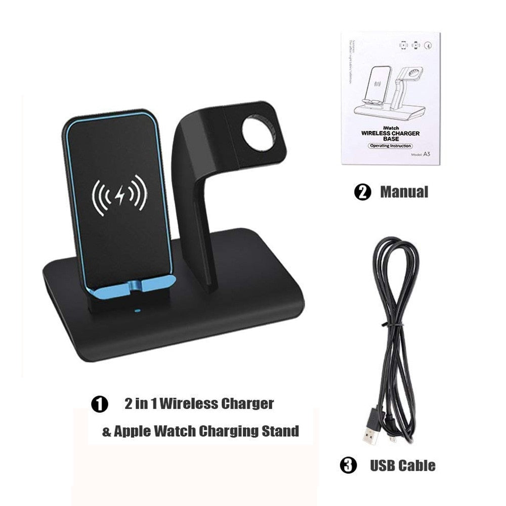 Wireless Charging Dock Station 3 in 1 For Apple Watch iPhone XS Max  Samsung