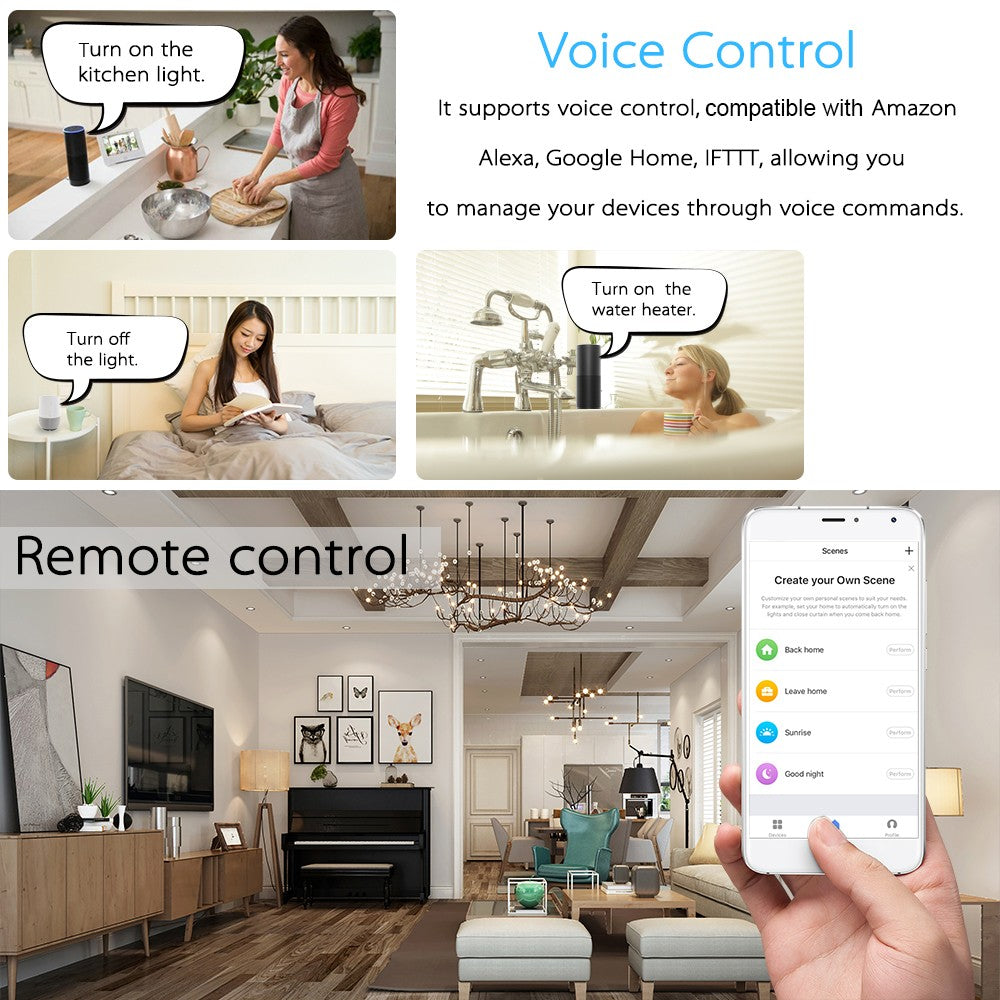 Dual Outlet + Dual USB Smart Plug Socket Wireless APP Remote Control Power Compatible with Amazon Alexa Google Home