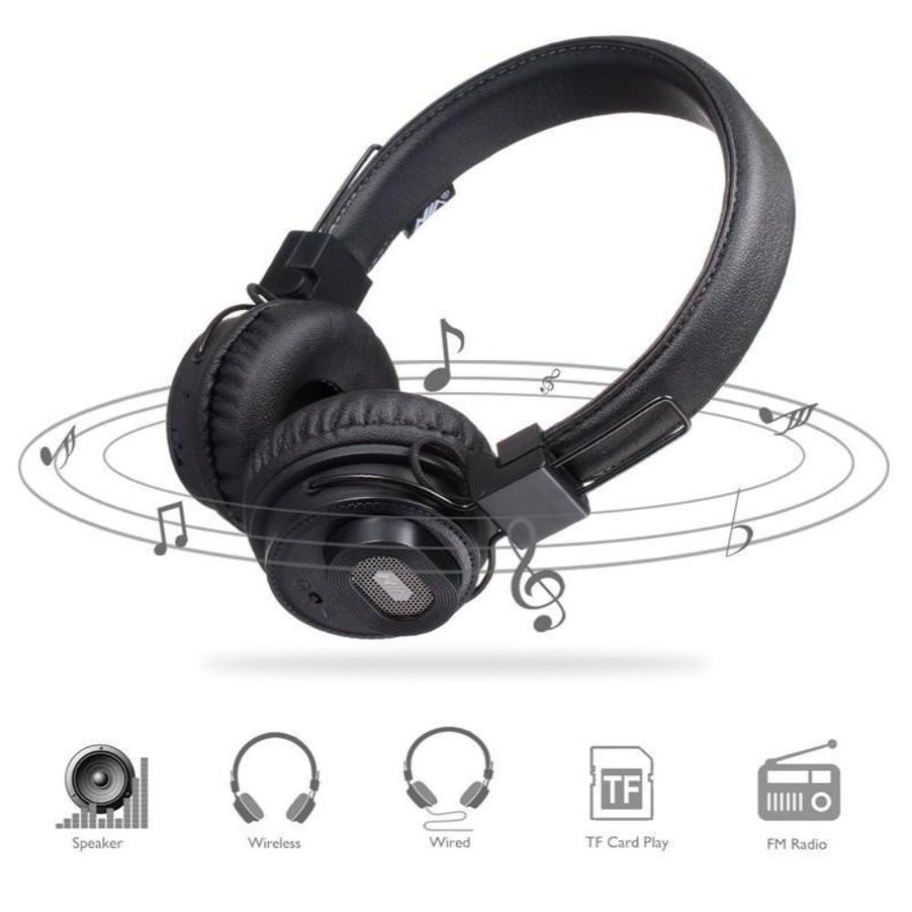 Wireless Headphone Foldable With Speakers  TF Card Player FM Radio AUX Mic