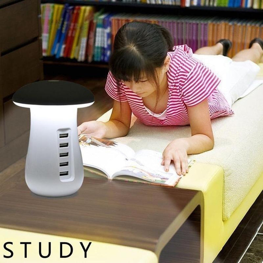 5 Port USB Charging Station Dock Stand Desktop LED Lamp Multi Charger