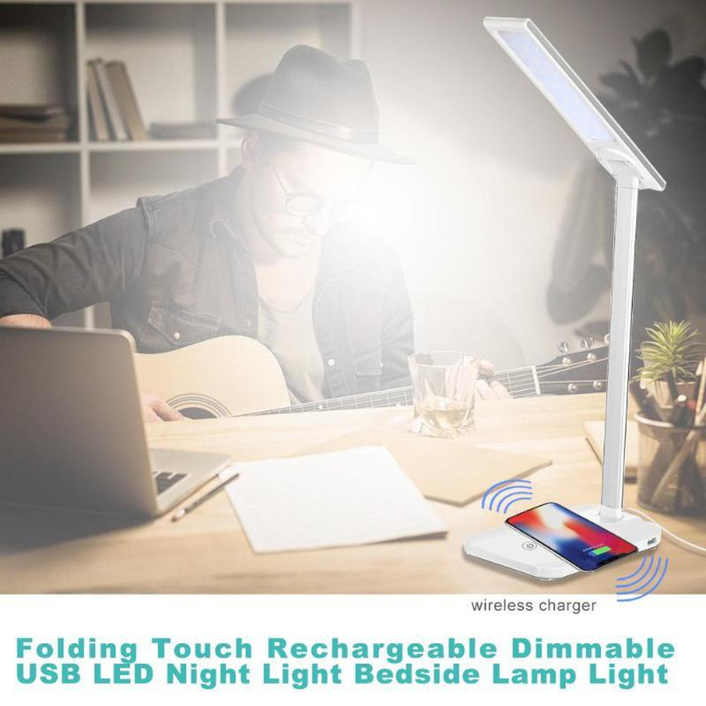 Lamp Folding Dimmable Touch Desk Lamp Night Light Wireless Phone Charger for iPhone X Book Lights