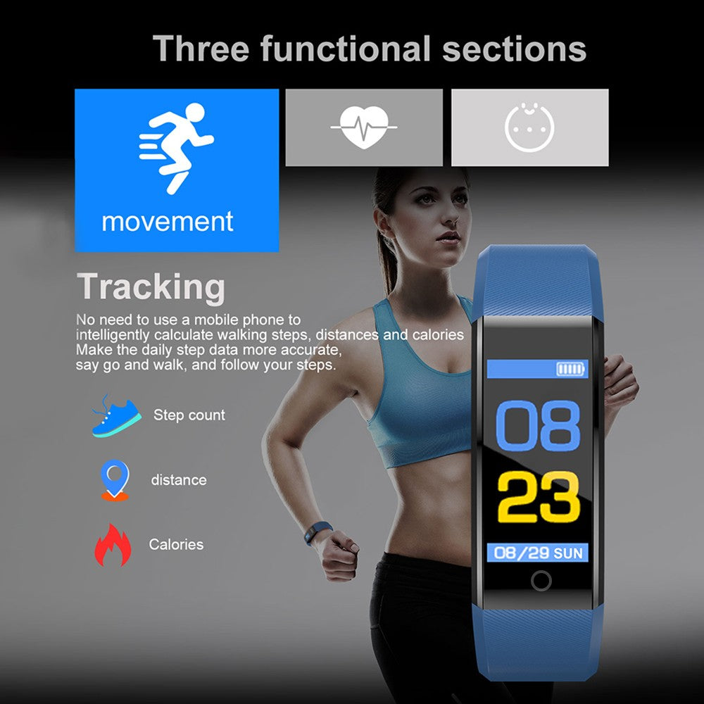 Smart Watch Bracelet Fitness Tracker 0.96in TFT Display Screen Heart Rate Monitor Sleep Monitoring Call Reminder Smart Band Sport Pedometer Wristband Watch for Android IOS