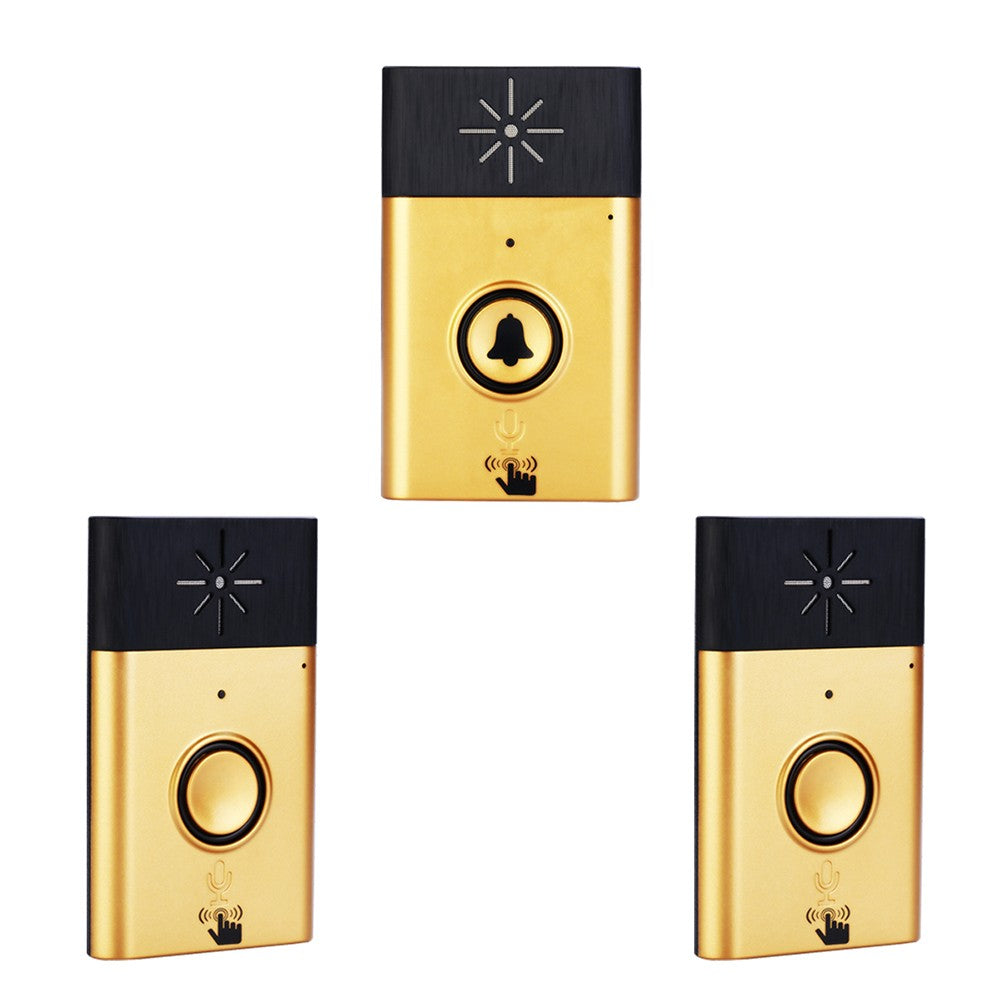 Wireless Voice Intercom Doorbell 2-way Talk Monitor with 1*Outdoor Unit Button 2*Smart Home Gold